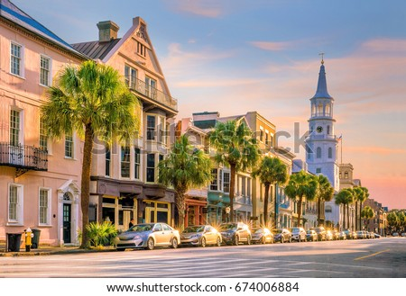 Historical downtown area of  Charleston, South Carolina, USA  #674006884