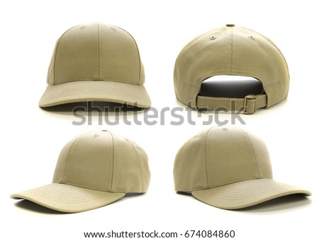 Blank tan cap isolated on white background. Multiple angles included. Great for mock ups. #674084860