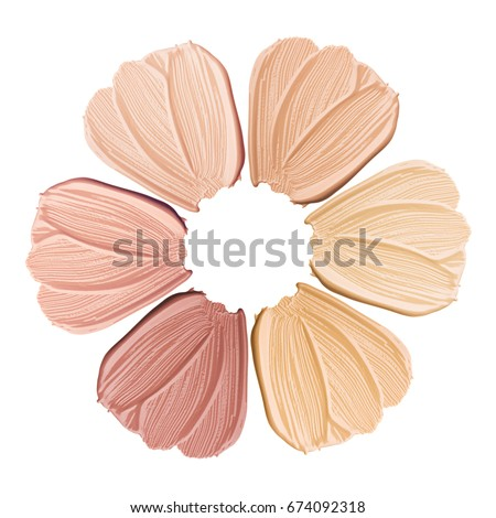 Smears of foundation for face. Conceptual flower from concealer smears. Isolated on white background #674092318