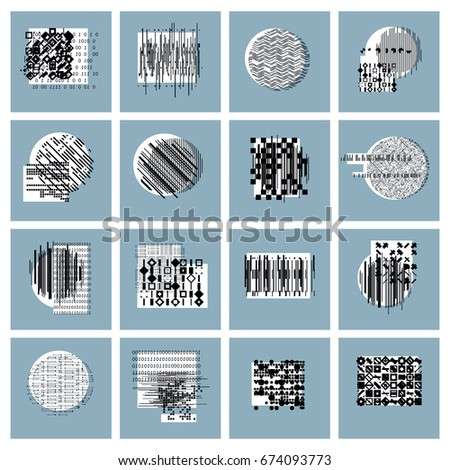 Abstract geometric compositions set, vector backgrounds collection. #674093773