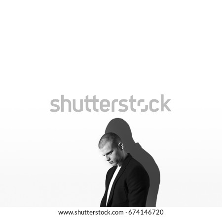 Businessman guy, man in business suit standing on white background, minimalism, flat style