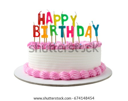 birthday cake with candles clipping path