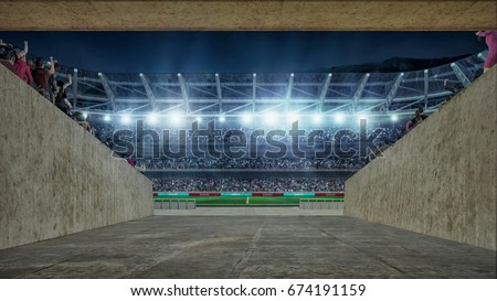 soccer field with lights and spectors 3d rendering view from entering corridor #674191159
