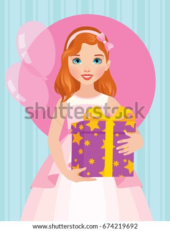 Little girl in a beautiful dress is holding a box of birthday gift illustration