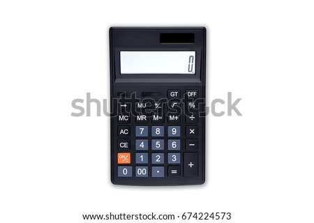 Black digital calculator on the top view white background #674224573