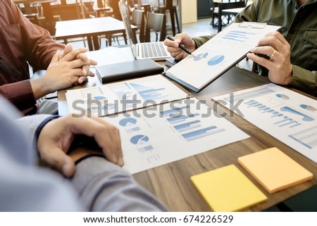 Business meeting office. documents account managers crew working with new startup project Idea presentation, analyze marketing plans #674226529