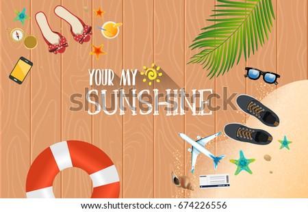 Summer holiday vacation concept, Wooden floor flat vector illustration #674226556