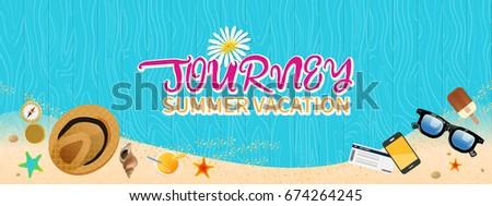 Summer holiday vacation concept, Wooden floor flat vector illustration #674264245