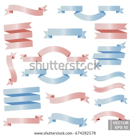 A set of ribbon. Isolated on white background. Soft color. A cartoon. For your design. #674282578