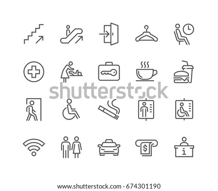 Simple Set of Public Navigation Related Vector Line Icons.  Contains such Icons as Cloakroom, Elevator, Exit, Taxi, ATM and more. Editable Stroke. 48x48 Pixel Perfect. Royalty-Free Stock Photo #674301190