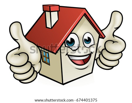 A house cartoon mascot character giving a double thumbs up