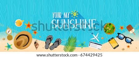 Summer holiday vacation concept, Wooden floor flat vector illustration #674429425