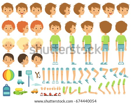 Funny cartoon boy creation mascot kit with children toys and different body parts Royalty-Free Stock Photo #674440054