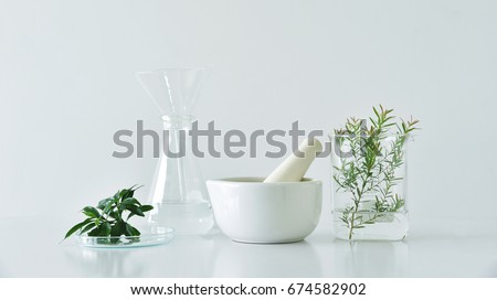 Natural organic botany and scientific glassware, Alternative herb medicine, Natural skin care beauty products, Research and development concept. #674582902