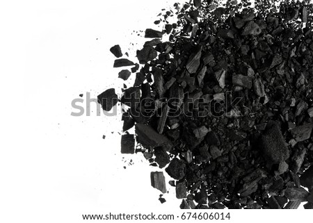 Charcoal or coal carbon  texture isolated on white background #674606014