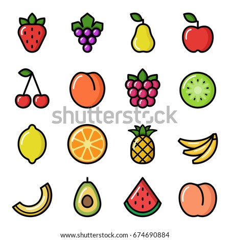 Set of fruit icons. Vector illustration Royalty-Free Stock Photo #674690884