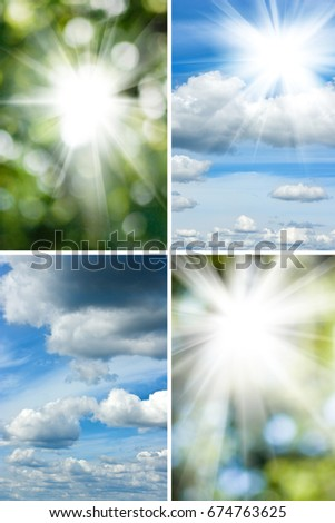 image of the sun in the blurry natural green background #674763625