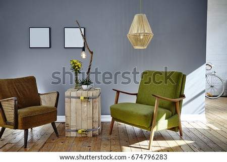 two retro design chairs in sunny living room loft berlin atmosphere #674796283