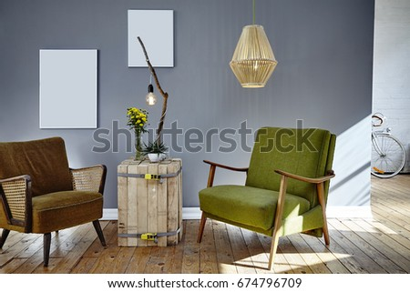two retro design chairs in sunny lounge berlin loft atmosphere #674796709
