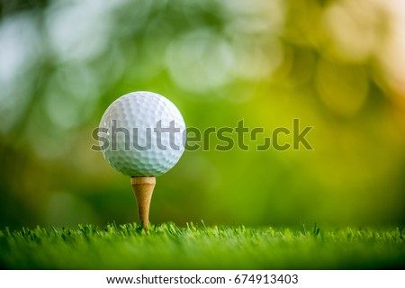 golf ball on tee ready to play #674913403