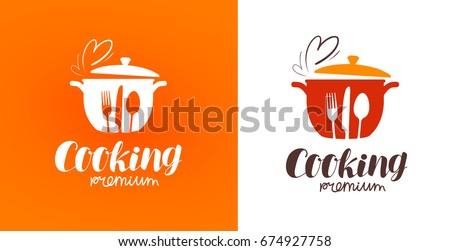 Cooking logo. Icon or symbol for design menu restaurant. Vector illustration Royalty-Free Stock Photo #674927758