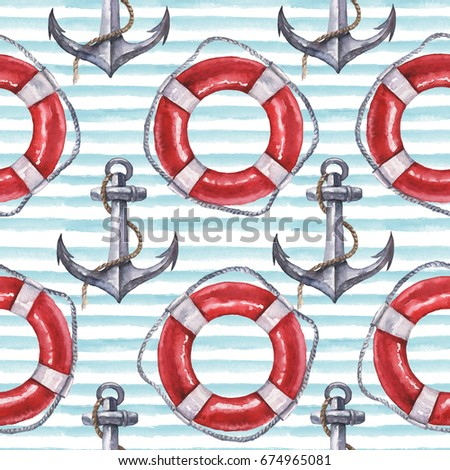 Seamless watercolor nautical pattern with anchor and life buoy on blue background, perfect for wrappers, wallpapers, postcards, greetings, wedding invitations, romantic events.