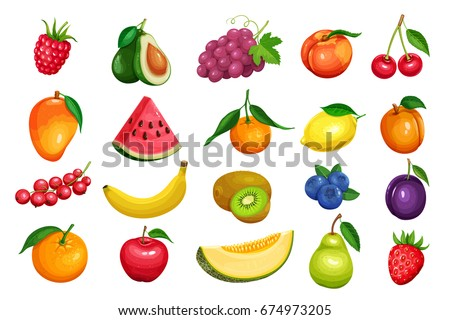 Raspberries, strawberries, grapes, currants and blueberries. Lemon, peach, apple, pear, orange watermelon avocado and melon set Vector illustration berries and fruits in cartoon style. Royalty-Free Stock Photo #674973205