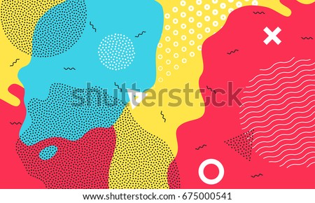 Abstract pop art color background with bright yellow, red and blue paint splash. Vector overlay pattern with black and white geometric forms with line and dots in trendy memphis 80s-90s style.  #675000541