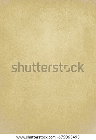 old plain background with watercolor paper structure in dark yellow color #675063493
