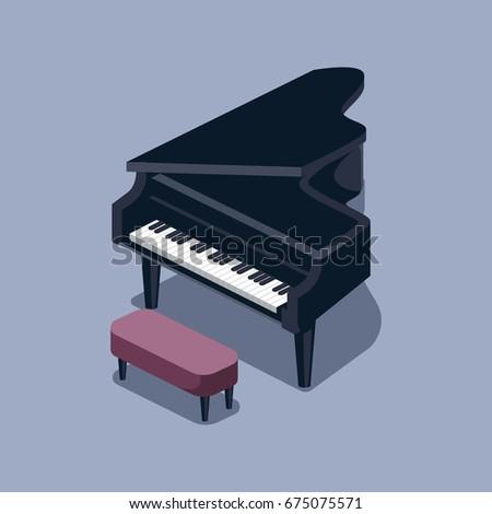 Black grand piano isometric style colorful raster illustration.