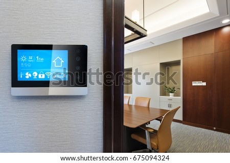 smart screen on wall in modern meeting room #675094324
