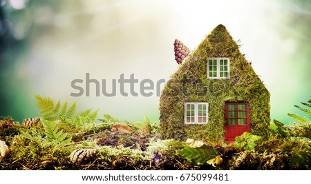 Eco friendly house concept with moss covered model home outdoors in a garden with copy space amongst green ferns Royalty-Free Stock Photo #675099481