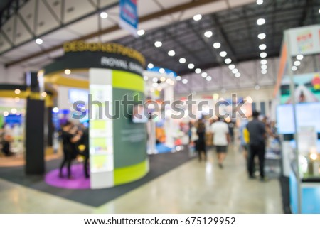 Abstract blur people in exhibition hall event trade show background #675129952