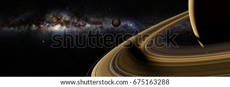 Saturn's moon Enceladus casts a long shadow on planet Saturn's rings (3d illustration banner, elements of this image are furnished by NASA)