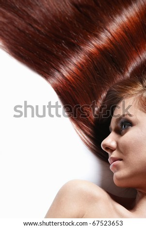 Girl with beautiful hair on a white background #67523653
