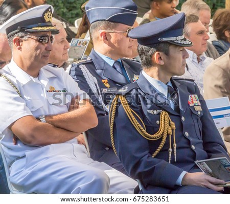November 12, 2015, Haifa. Annual ceremony of commemoration of Indian soldiers killed in the Battle of Haifa in the First World War. Officers from various armies of the world at the ceremony.  #675283651