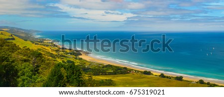 All shades of blue of the Pacific ocean. The Australian coast. #675319021