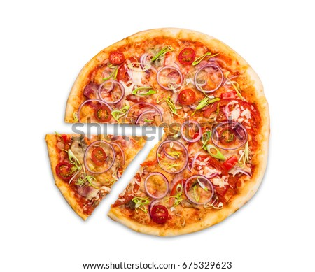 Pizza slice top view isolated on white background, with onions, bacon and cherry tomatoes, thin pastry crust, closeup #675329623