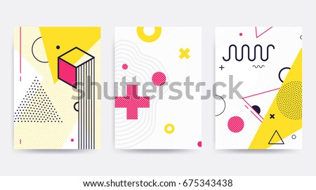 Colorful trend Neo Memphis geometric pattern set juxtaposed with bright bold blocks of color zig zags, squiggles, erratic images. Design background elements composition. Magazine, leaflet, billboard