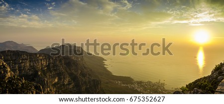 Beautiful sunset on top of Table Mountain in South Africa #675352627