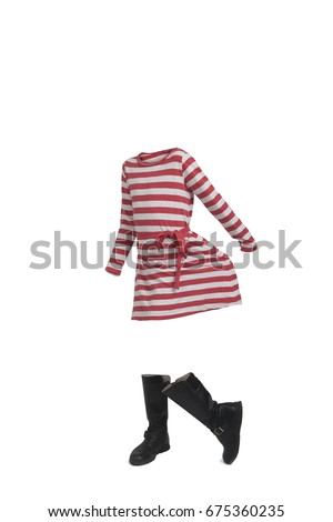 Empty clothes Cute girl wearing a striped dress and boots.
