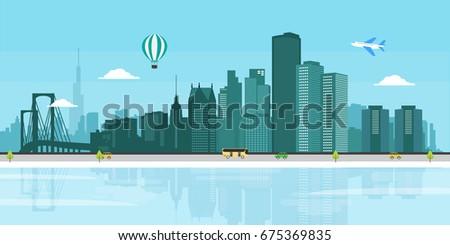 Detroit cityscape flat illustration