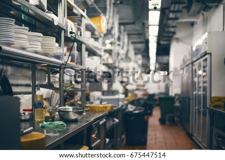 Empty restaurant kitchen is blurred for background #675447514