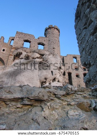ruins of Ogorodzieniec castle, Trail of the Eagles Nest, Poland #675470515