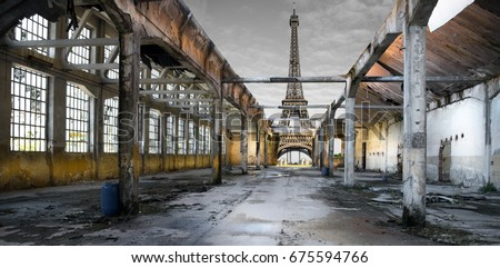 View of the post-apocalyptic Eiffel Tower Royalty-Free Stock Photo #675594766