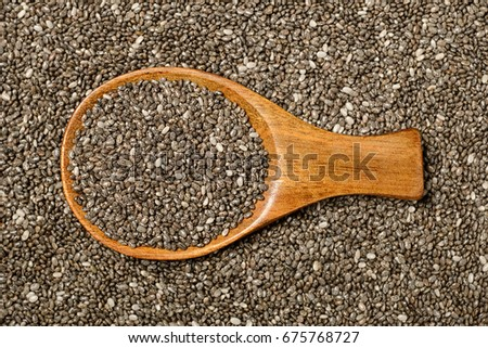 food background of chia seeds, top view #675768727
