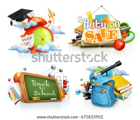 School and education concepts. Back to school, autumn sale. 3d vector set