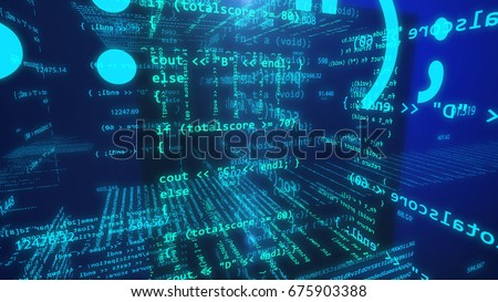 3d illustration of Application software programming source code. Open source concept.