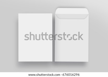White envelope C4 mock-up, blank template, isolated background Royalty-Free Stock Photo #676016296