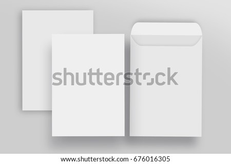 Blank envelope C4 mock up and Blank letterhead presentation template, isolated background Royalty-Free Stock Photo #676016305